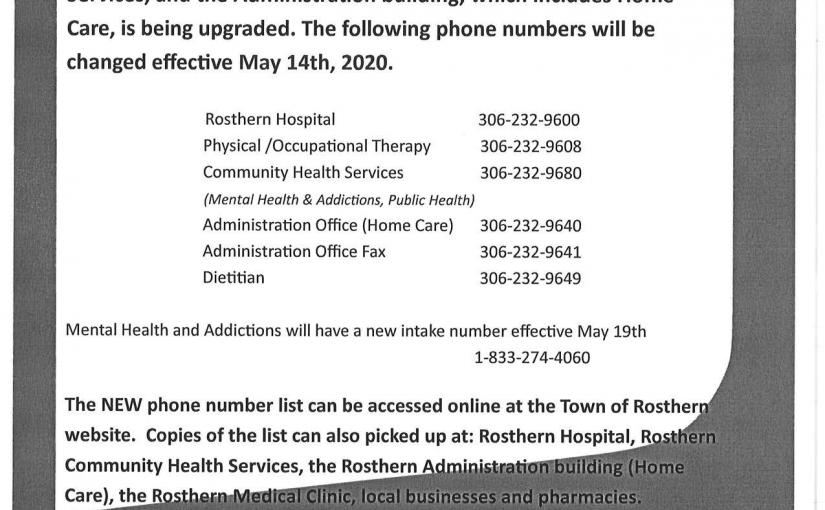 Rosthern Health Services number changes